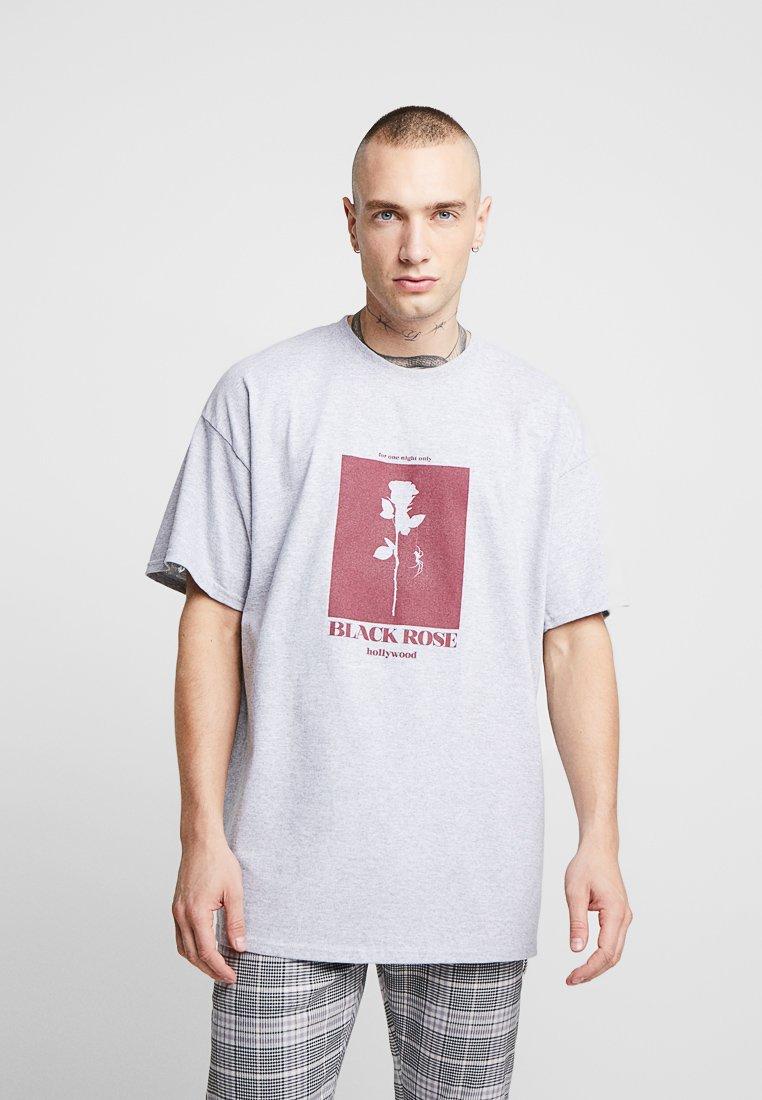 boohoo MAN - BLACK ROSE CHEST  - Camiseta estampada - grey