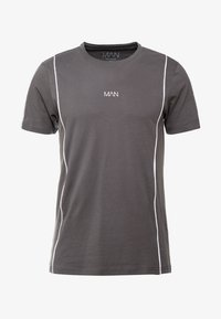 boohoo MAN - COLOUR BLOCK DASH EMBROIDERY - T-shirt con stampa - grey - 3