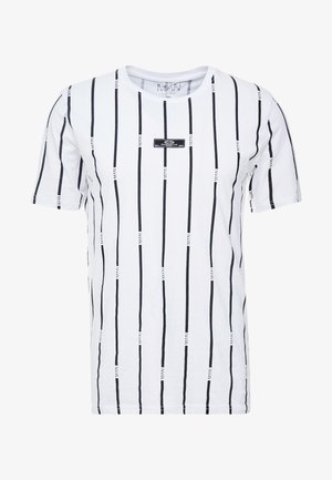 STRIPE PRINTED WITH WOVEN - T-shirt print - white