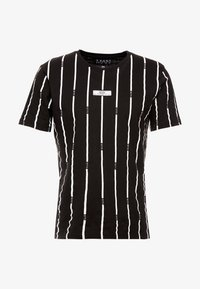 boohoo MAN - STRIPE PRINTED WITH WOVEN - T-shirt med print - black - 4