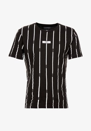 STRIPE PRINTED WITH WOVEN - T-shirt med print - black