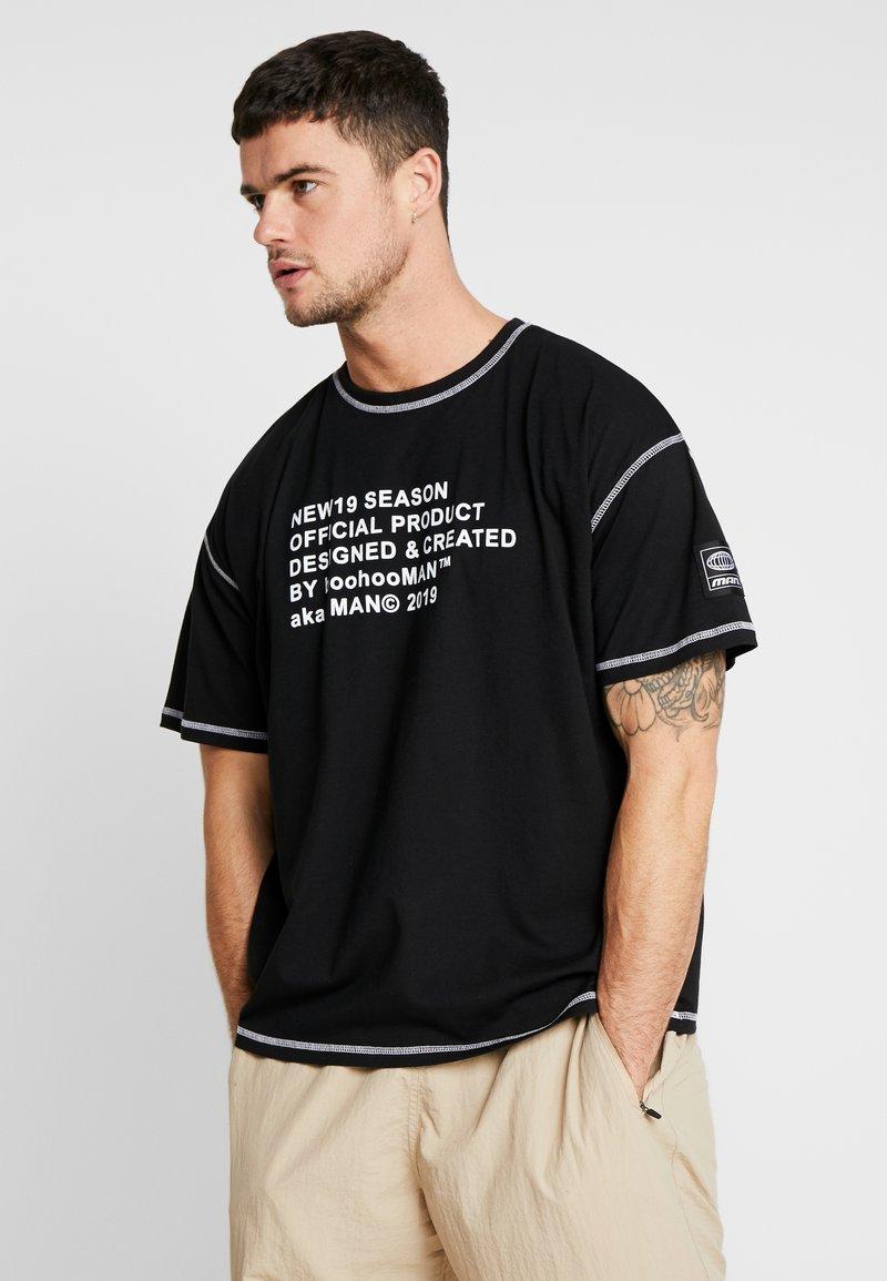 boohoo MAN - NEW SEASON MAN OVERSIZED  - T-shirt z nadrukiem - black