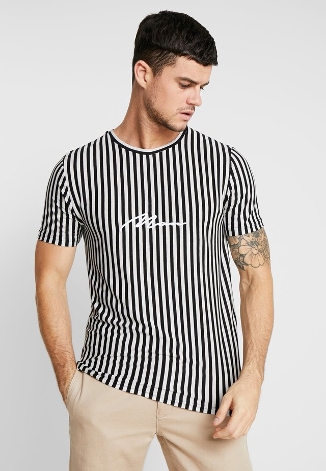 SIGNATURE 3D EMBROIDERED STRIPE  - T-Shirt print - black