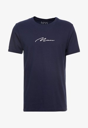 MAN SIGNATURE EMBROIDERED  - T-Shirt print - navy