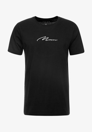 MAN SIGNATURE EMBROIDERED  - T-shirt print - black