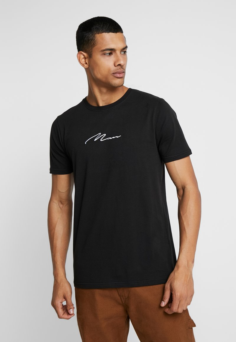boohoo MAN - MAN SIGNATURE EMBROIDERED  - T-shirt med print - black