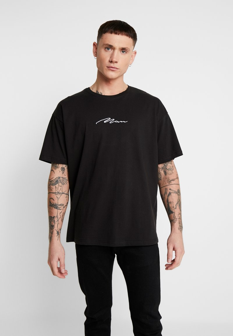 boohoo MAN - SIGNATURE EMBROIDERED OVERSIZED - T-shirt con stampa - black