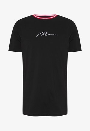 SIGNATURE WITH SPORTS RIB NECK - T-shirt print - black