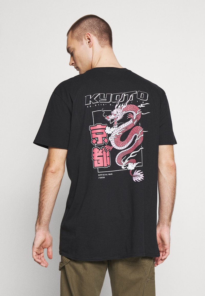 boohoo MAN - OVERSIZED KYOTO BACK PRINT  - Print T-shirt - black