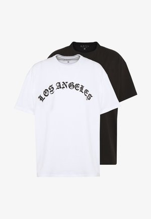 OVERSIZED LOS ANGELES 2 PACK  - T-shirt con stampa - black/white