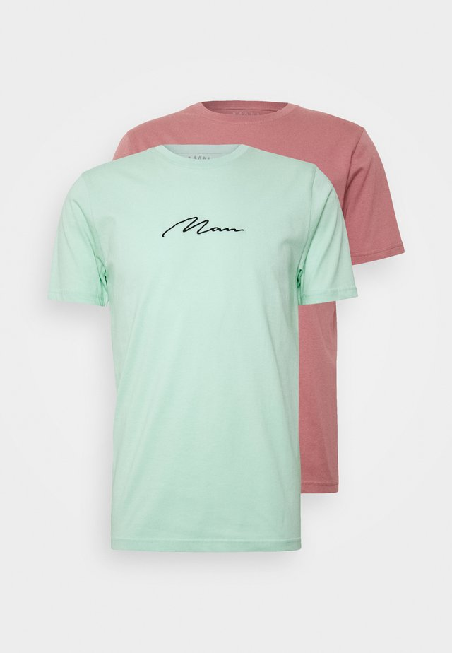 MAN SIGNATURE EMBROIDERED 2 PACK - T-shirts print - purple