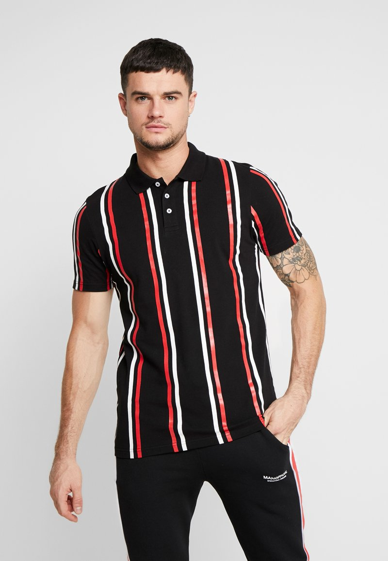 boohoo MAN - PRINTED STRIPE BUTTON - Polo shirt - black