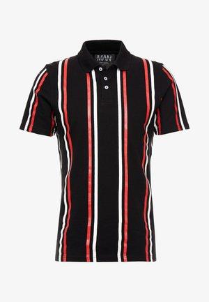 PRINTED STRIPE BUTTON - Polo shirt - black
