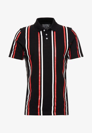 PRINTED STRIPE BUTTON - Poloshirt - black