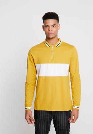 LONG SLEEVE COLOUR BLOCK ZIP - Polo shirt - yellow