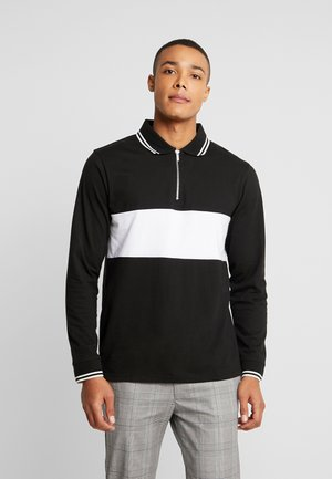LONG SLEEVE COLOUR BLOCK ZIP POLO - Polo - black