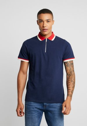 ZIP POLO WITH CONTRAST COLLAR - Piké - navy
