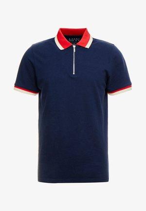 ZIP POLO WITH CONTRAST COLLAR - Polo shirt - navy