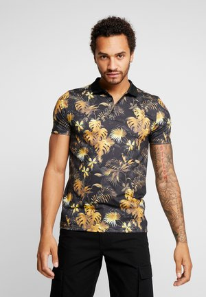 MUSCLE FIT FLORAL - Polo - black
