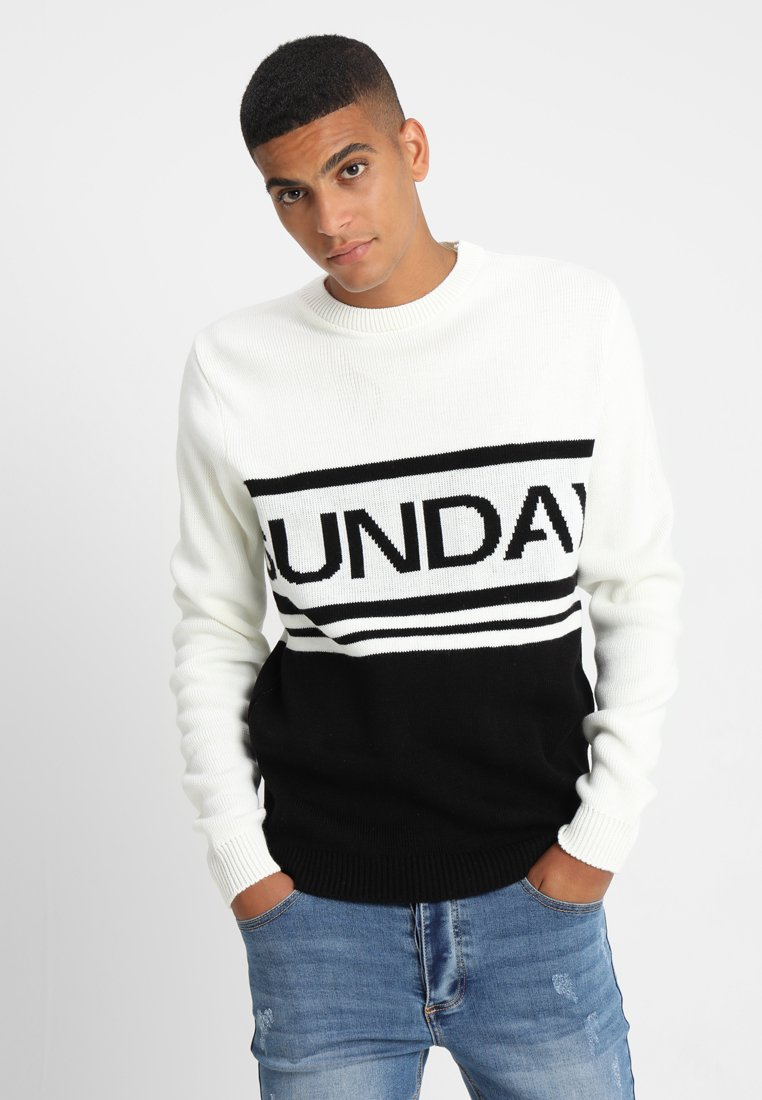 boohoo MAN - COLOUR BLOCK SLOGAN JUMPER - Jumper - cream