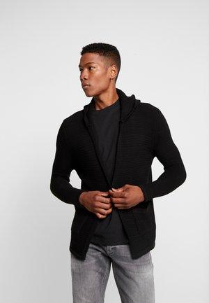 HOODED WAFFLE CARDIGAN - Vest - black
