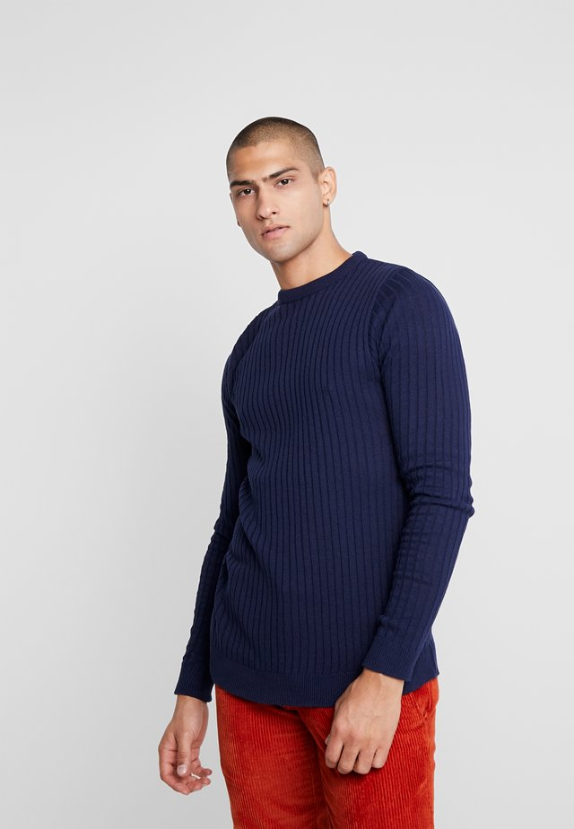 MUSCLE FIT LONG SLEEVE CREW NECK JUMPER - Strickpullover - navy
