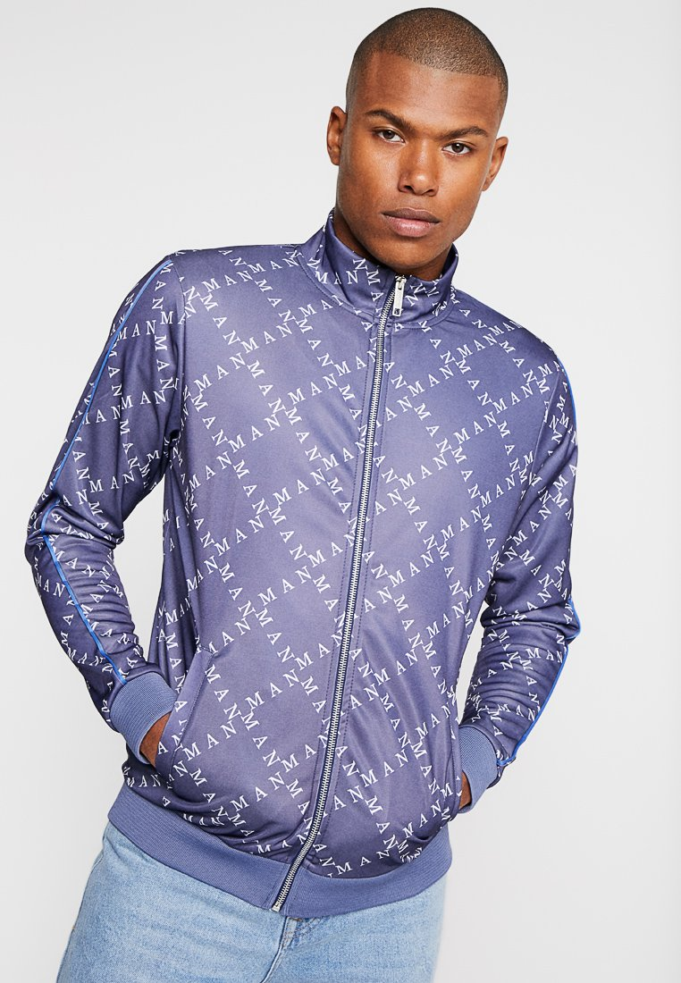 boohoo MAN - TRICOT TRACKSUIT WITH PIPING DETAIL - Verryttelytakki - navy