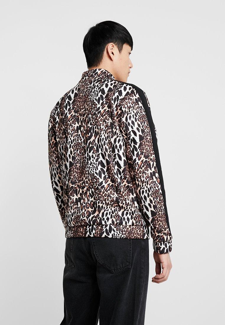 Up Man TopVeste Brown Zippée Panel Boohoo Leopard Zip Sweat Track En q435ALRj