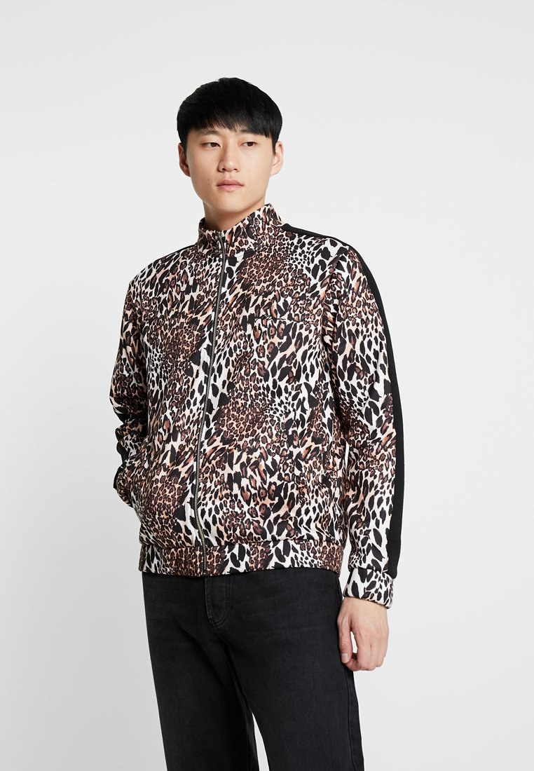 boohoo MAN - LEOPARD PANEL ZIP UP TRACK TOP - Mikina na zip - brown