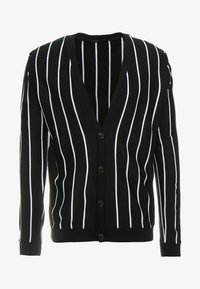 boohoo MAN - VERTICAL STRIPE - Cardigan - black - 4
