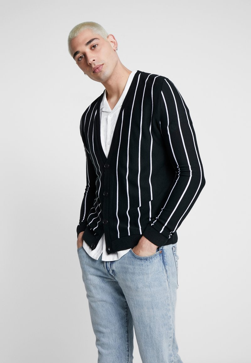 boohoo MAN - VERTICAL STRIPE - Cardigan - black