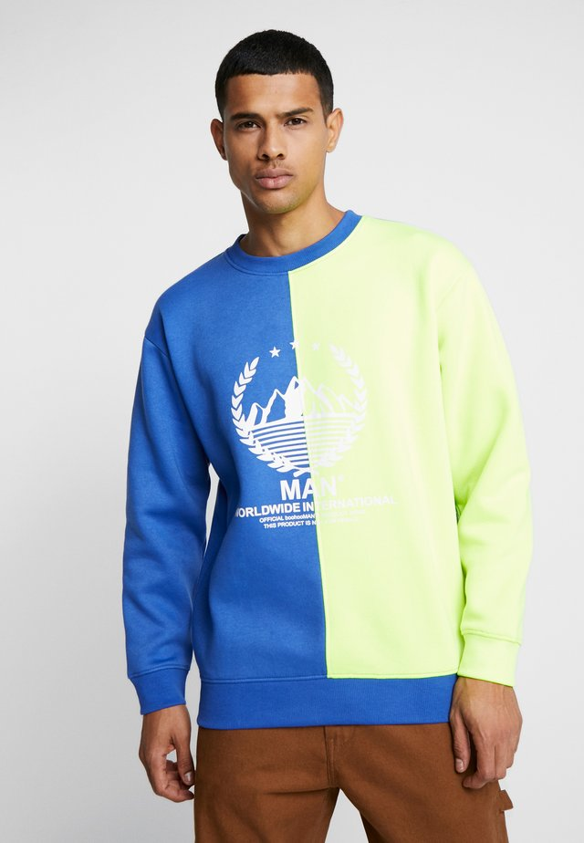 OVERSIZED SPLICED WITH PRINT - Sweatshirt - yellow