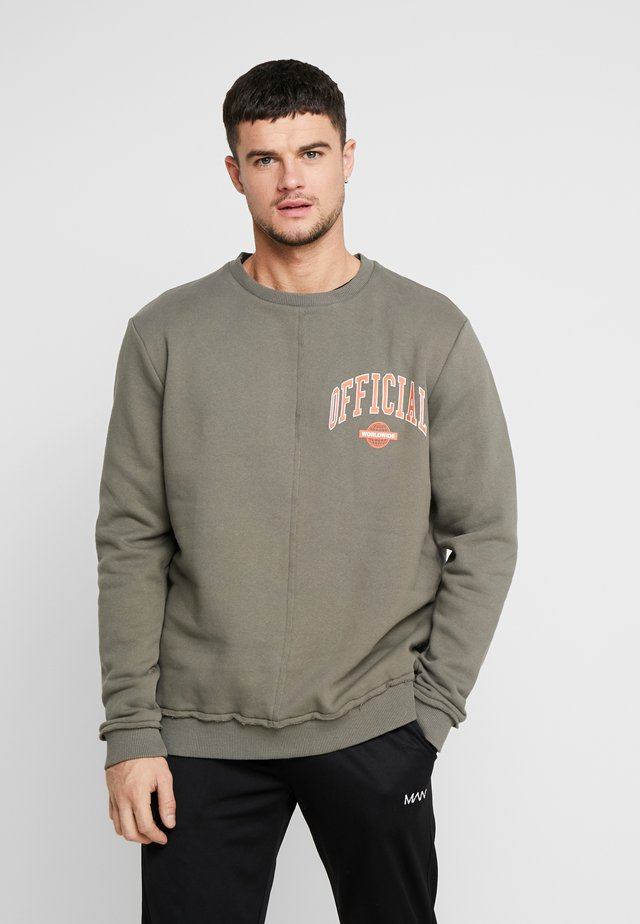 OFFICIAL PRINT WITH EXPOSED RAW SEAM - Sweatshirt - khaki