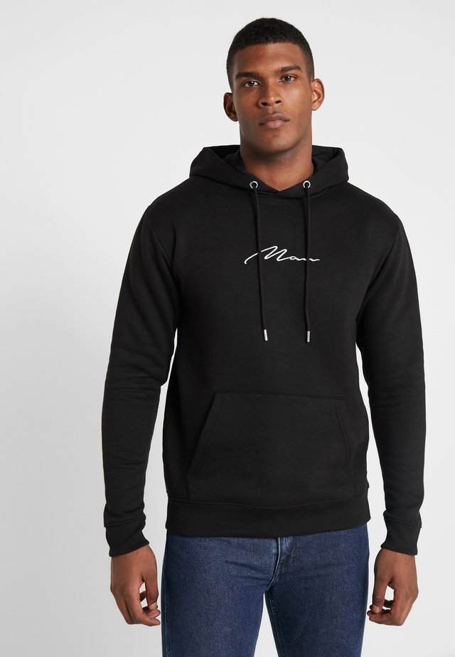 SIGNATURE EMBROIDERED HOODIE - Felpa con cappuccio - black