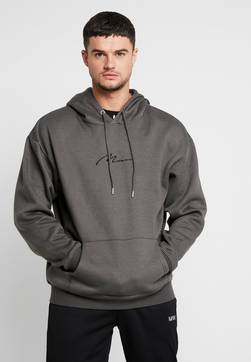 boohoo MAN - SIGNATURE EMBROIDERED HOODIE - Jersey con capucha - grey