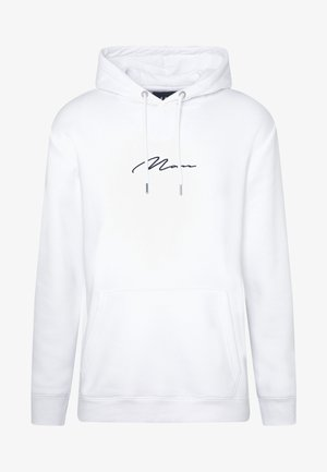 SIGNATURE EMBROIDERED HOODIE - Mikina s kapucí - white