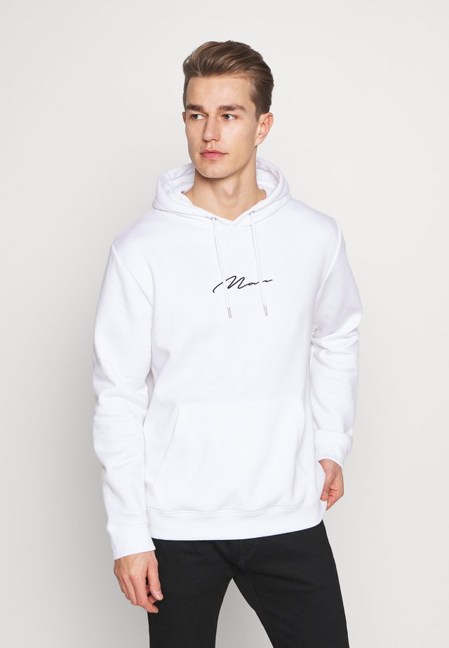 SIGNATURE EMBROIDERED HOODIE - Felpa con cappuccio - white