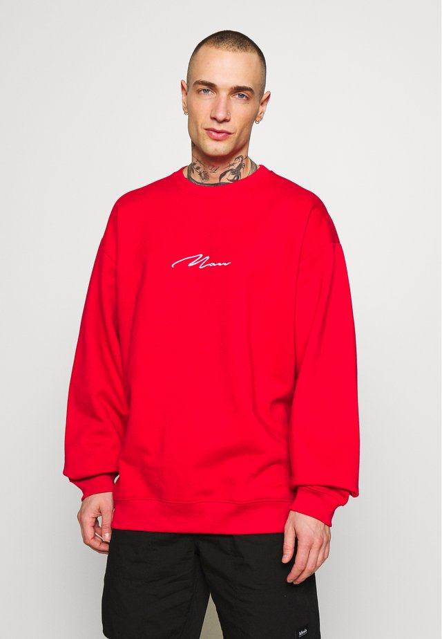 OVERSIZED MAN SIGNATURE  - Mikina - fire red