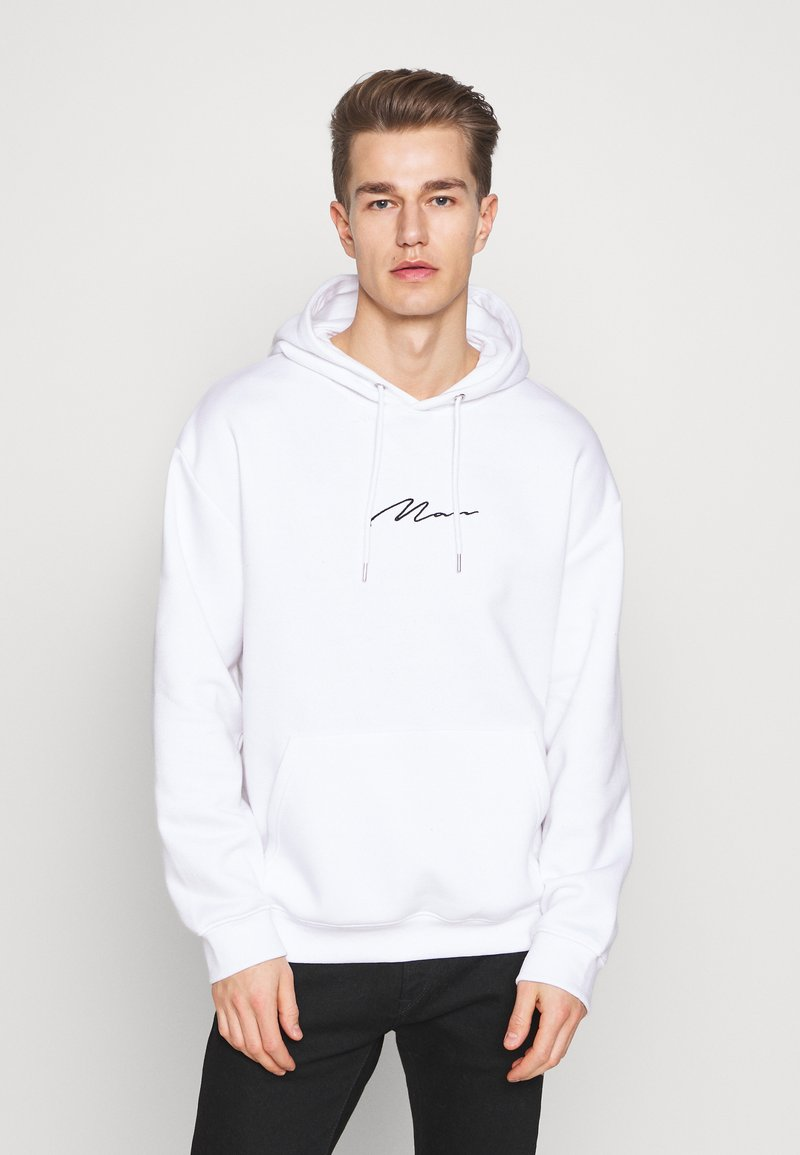 boohoo MAN - SIGNATURE EMBROIDERED OVERSIZED HOODIE - Hoodie - white