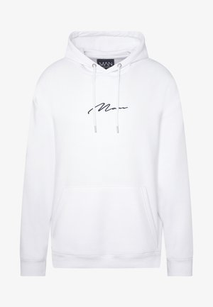 SIGNATURE EMBROIDERED OVERSIZED HOODIE - Hoodie - white