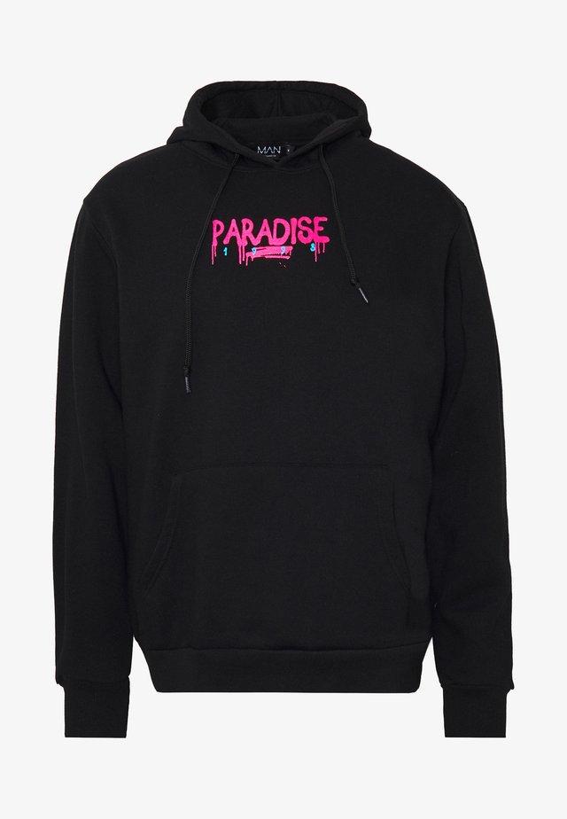 PARADISE BACK FRONT PRINT HOODIE - Mikina - black