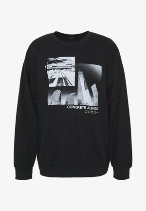 OVERSIZED CONCRETE JUNGLE PRINT  - Felpa - black