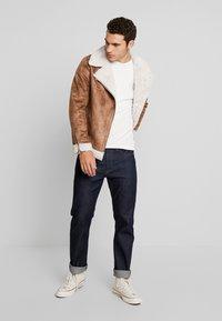 boohoo MAN - LINED AVIATOR JACKET - Faux leather jacket - tan - 1