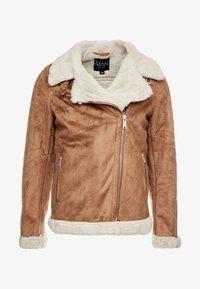 boohoo MAN - LINED AVIATOR JACKET - Faux leather jacket - tan - 5