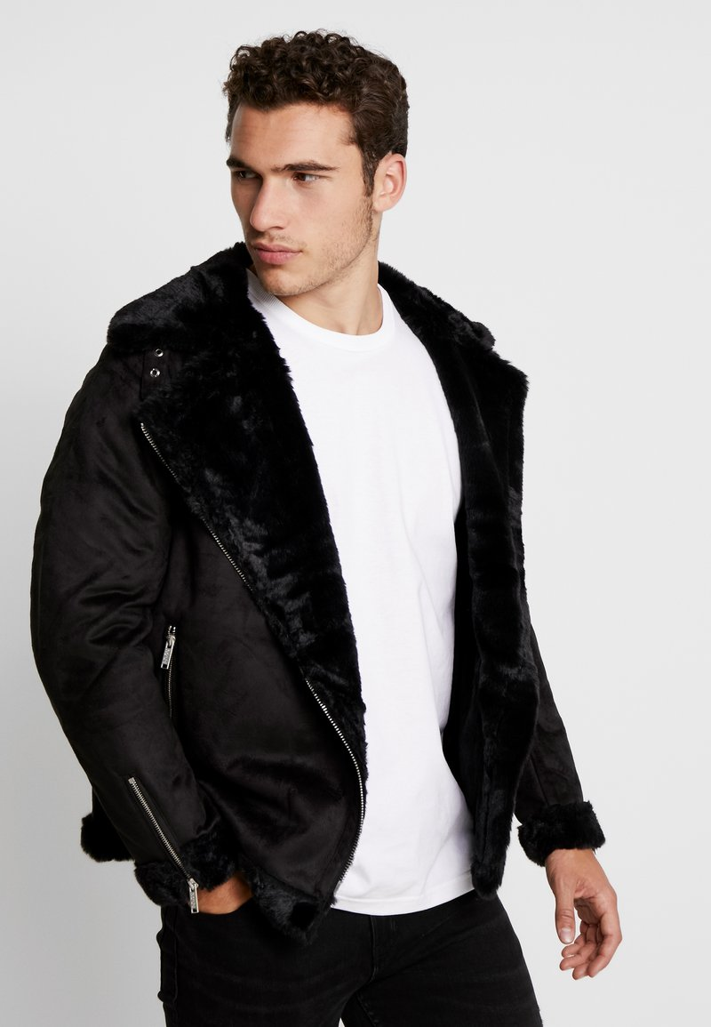 boohoo MAN - LINED AVIATOR JACKET - Kunstlederjacke - black