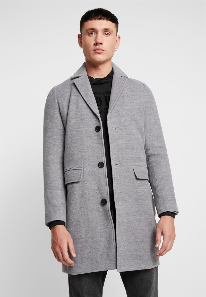 boohoo MAN - SINGLE BREASTED OVERCOAT - Mantel - grey