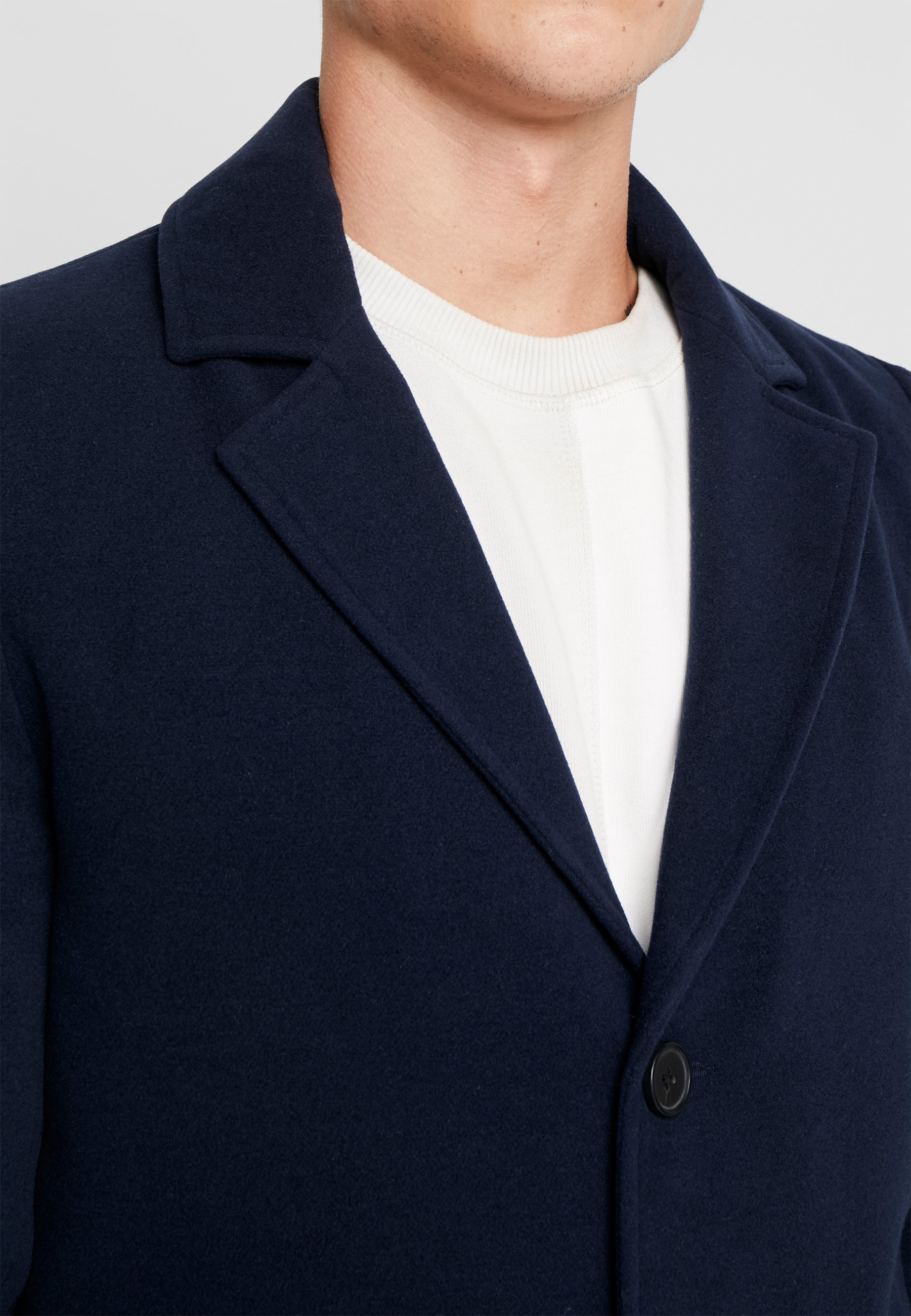 Classique Navy Boohoo OvercoatManteau Breasted Single Man ZukOiPX