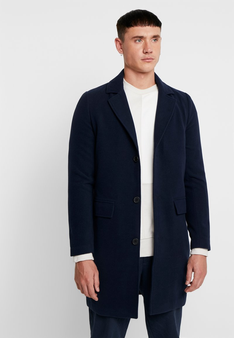 boohoo MAN - SINGLE BREASTED OVERCOAT - Classic coat - navy