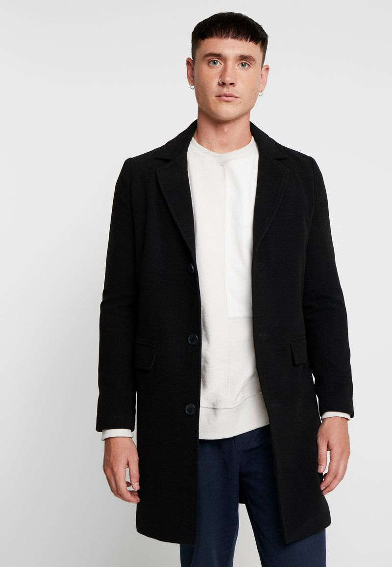 boohoo MAN - SINGLE BREASTED OVERCOAT - Zimní kabát - black