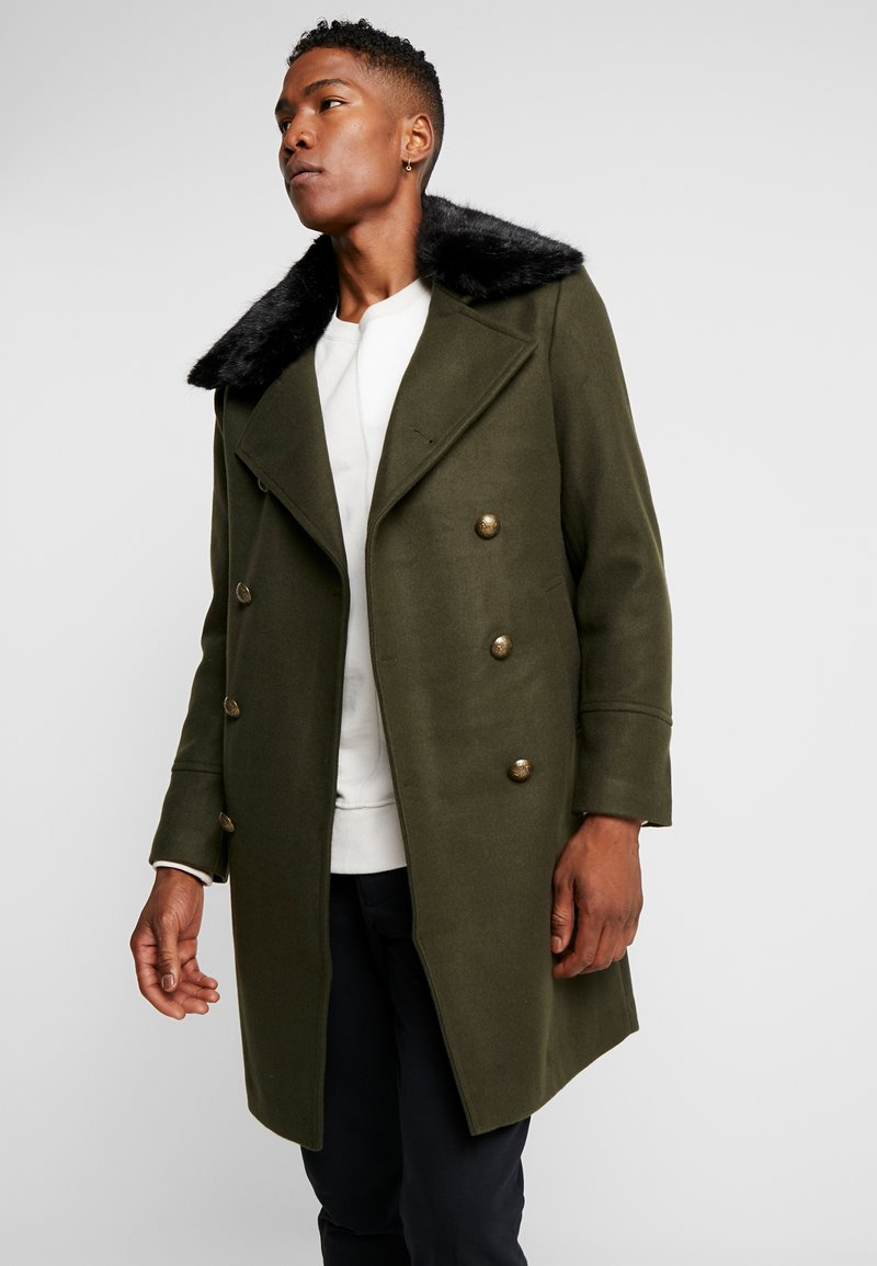boohoo MAN - FAUX FUR COLLAR MILITARY STYLE OVERCOAT - Wollmantel/klassischer Mantel - khaki